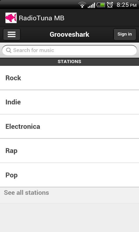 Radiotuna - Grooveshark AIO MB- screenshot