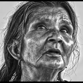 The fringe of the Society by Pritam Saha - People Street & Candids ( potrait, monochrome, woman, candid, people,  )