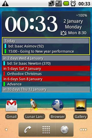 Clock and event widget- screenshot