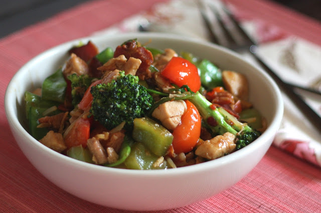 Spicy Chinese Vegetable Stir Fry with Chicken Recipe