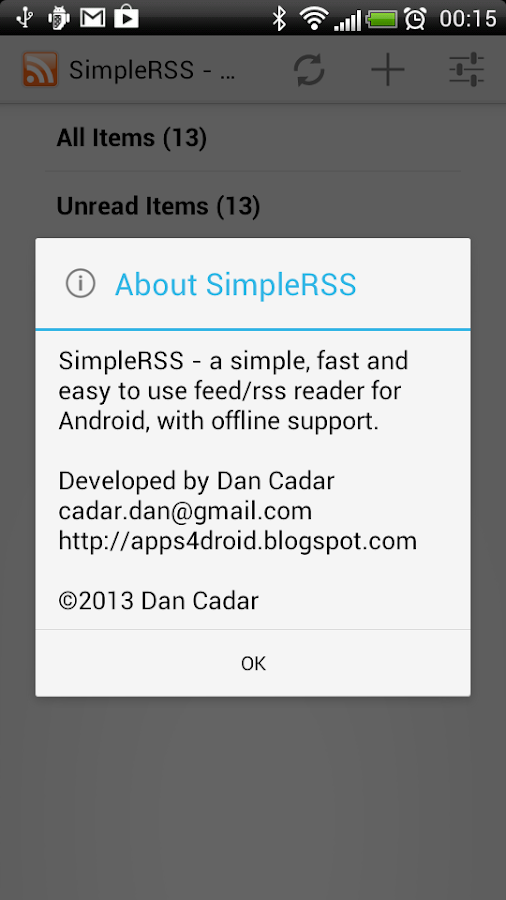 SimpleRSS (rss / feed reader) - screenshot