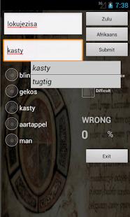 Afrikaans Zulu Dictionary screenshot