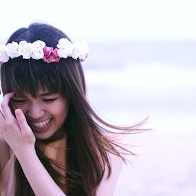 The Smile by Jessie Lyee - People Portraits of Women ( wind, girl, beach, smile, flower )