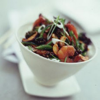 Chinese Stir-fried Prawns with Purple Sprouting Broccoli and Cashews.