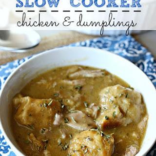 {Easy} Slow Cooker Chicken and Dumplings.