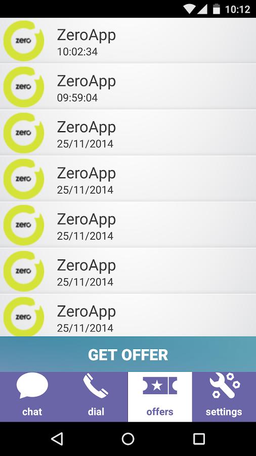 Screenshots of ZeroApp for iPhone