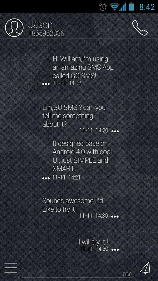GO SMS Pro Hello Theme EX - screenshot