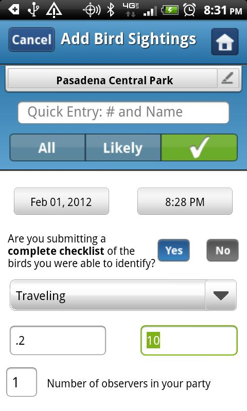 BirdLog North America- screenshot