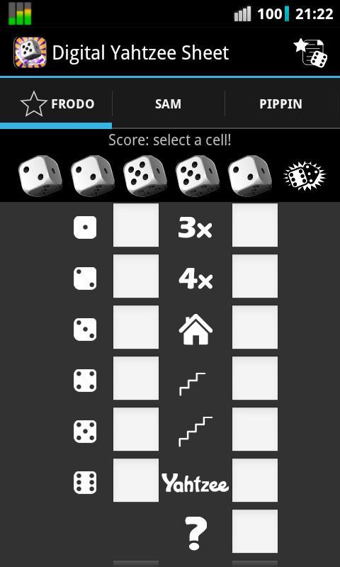 Digital Yahtzee Sheet - screenshot