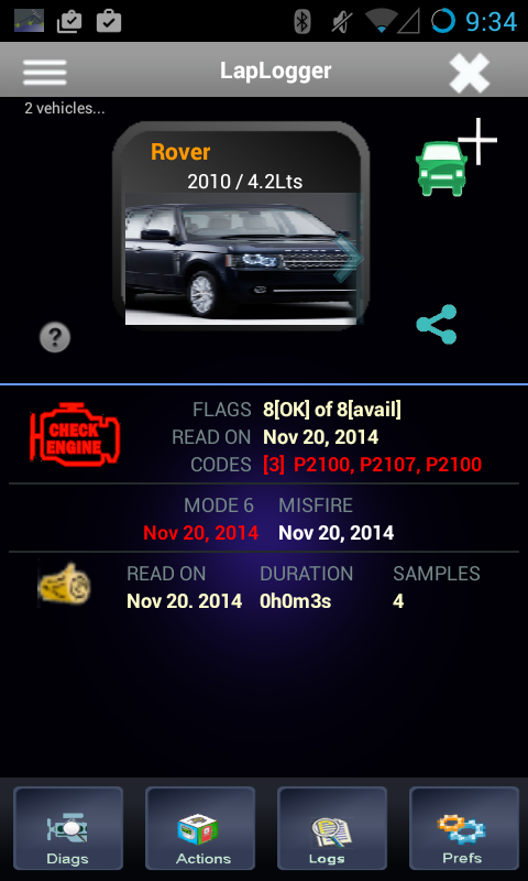 LapLogger OBD Scanner- screenshot
