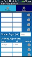 Screenshot of Electric Service Calculator