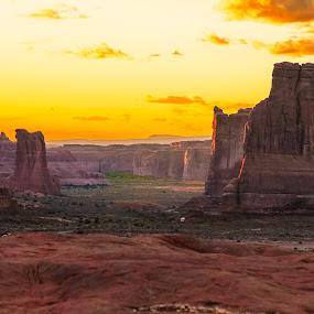 Summer Sunset Arches Nat'l Park by Karin Bennett - Landscapes Deserts ( moab, desert, arches nat'l park, sunset, red rock )