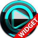 Poweramp widget BLACK Turquois icon