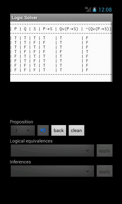 Logic Solver (truth tables) - screenshot