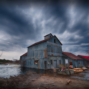 Chisholm's Mill of Roslin, Spring 2014 by Lisa Wessels - Landscapes Waterscapes ( roslin, red, lumberyard, barn, hdr, blue, flood, chisholm's mill, spring,  )