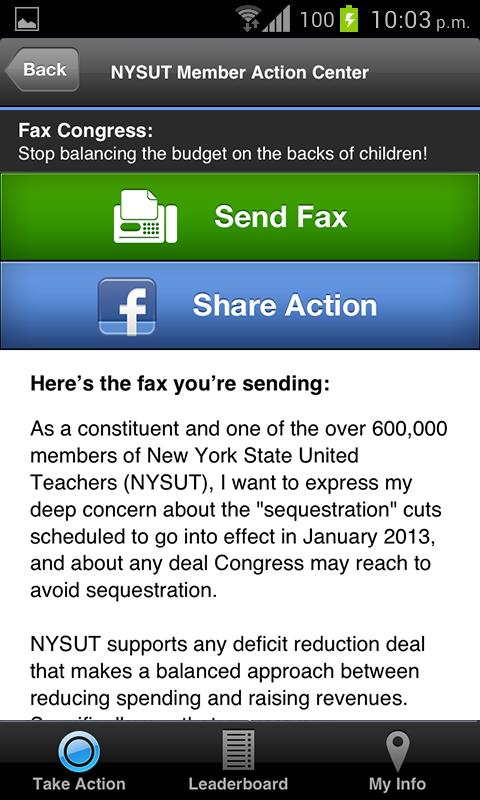 NYSUT Member Action Center - screenshot