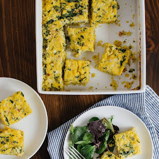 Breakfast Polenta Squares with Spinach & Bacon.