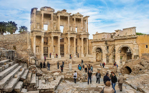 library-Celsus-Ephesus-Turkey - The library of Celsus is an ancient Roman building in Ephesus, now part of Selçuk, Turkey. It was built in honor of the Roman senator Tiberius Julius Celsus Polemaeanus.