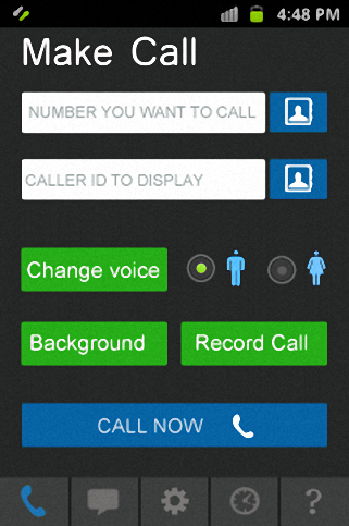 Caller and sender id - screenshot