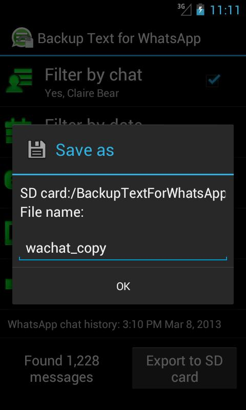 Backup Text for WhatsApp - screenshot