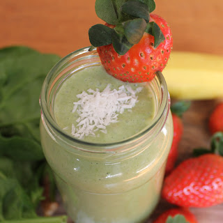 Spinach, Coconut Milk, Strawberry and Banana Smoothie.