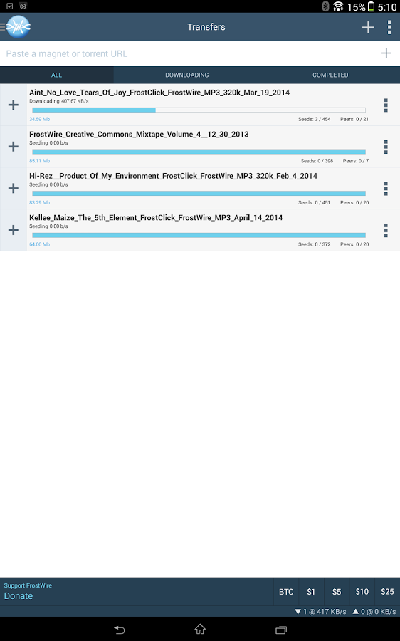 FrostWire - Downloader/Player - screenshot