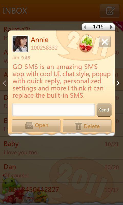 GO SMS Pro New Year - Orange screenshot #2