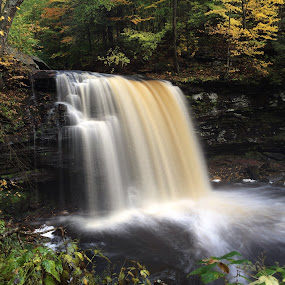 Harrison Wright Falls, 2014.10.16 by Aaron Campbell - Instagram & Mobile iPhone ( kitchencreek, autumn, iphone5s, waterfall, pennsylvania, october, statepark, fallstrail, rickettsglen,  )