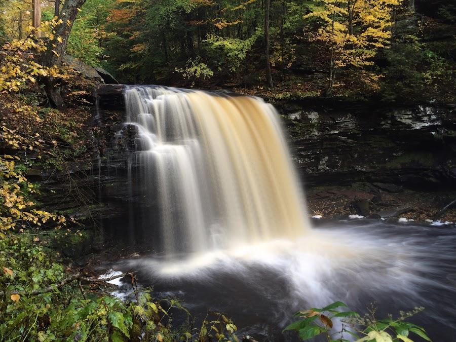 Harrison Wright Falls, 2014.10.16 by Aaron Campbell - Instagram & Mobile iPhone ( kitchencreek, autumn, iphone5s, waterfall, pennsylvania, october, statepark, fallstrail, rickettsglen,  )