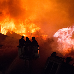 Avalon Fire, Edgewater, NJ 1-21-2015 by Werner Ennesser - People Professional People ( fire ground, fort lee, fire scene, edgewater, bergen county, nj, avalon, fire, , Earth, Light, Landscapes, Views )