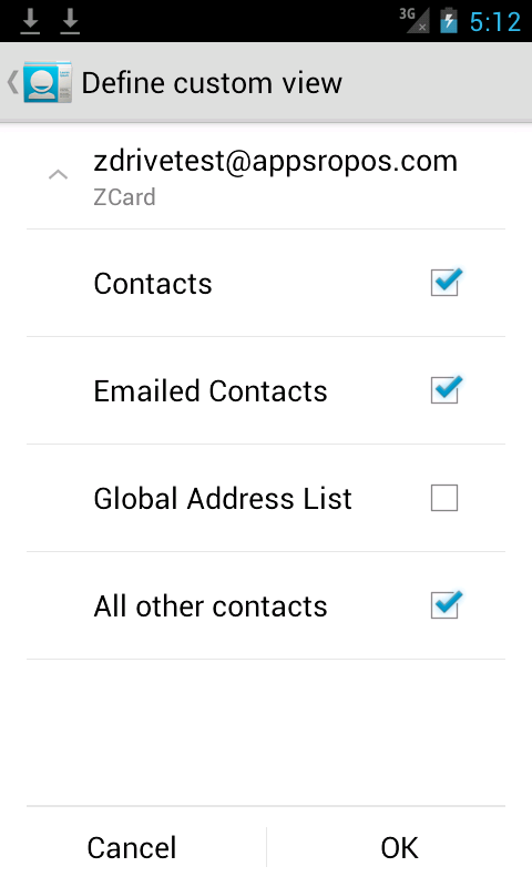 ZCard: Zimbra Contacts Sync- screenshot