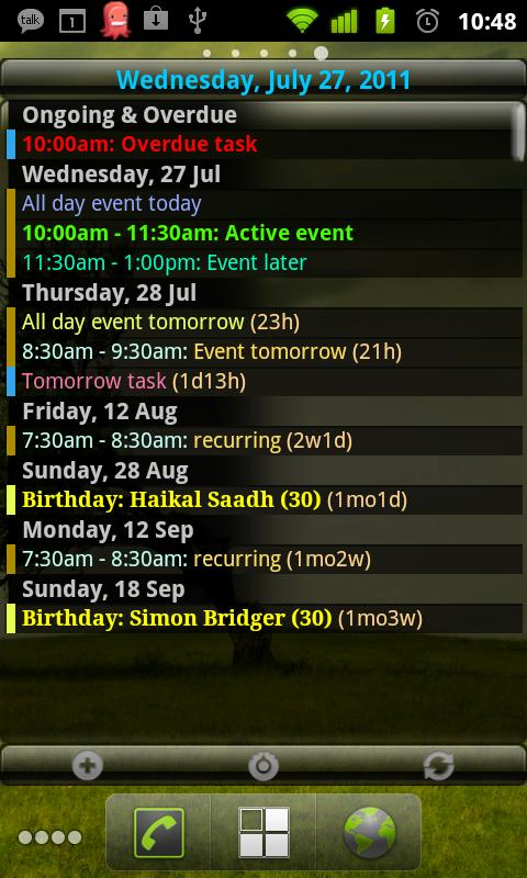 Agenda Widget for Android- screenshot