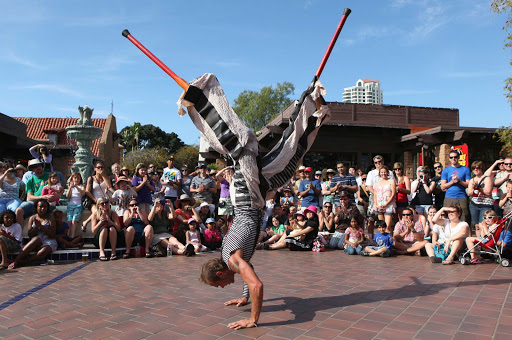 A performer at Seaport Village, San Diego.