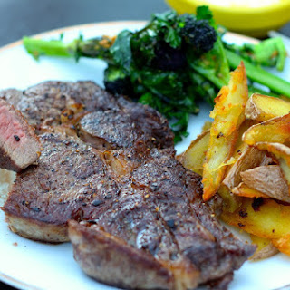 Cheater's Steak and Chips with Garlic Broccoli