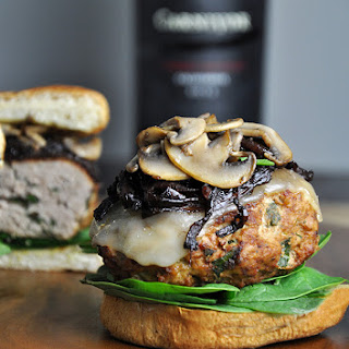 Turkey Burgers with Caramelized Onions & Sautéed Mushrooms