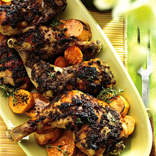 Roasted Spiced Chicken with Cinnamon- and Honey-Glazed Sweet Potatoes