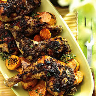 Roasted Spiced Chicken with Cinnamon- and Honey-Glazed Sweet Potatoes.