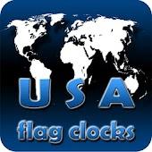 USA flag clocks