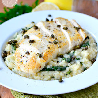 Lighter Chicken Piccata Risotto with Crispy Capers