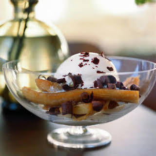 Baked Bananas with Ice Cream and Shaved Chocolate.