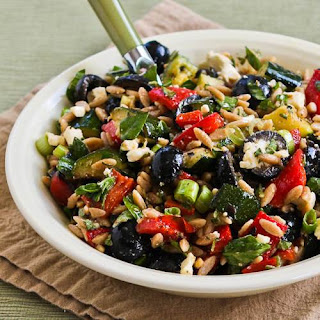 Whole Wheat Orzo and Grilled Vegetable Salad with Feta, Olives, and Herbs.