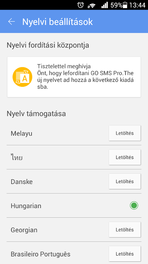 GO SMS Pro Hungarian language- screenshot