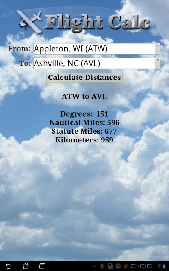 Flight Calc- screenshot