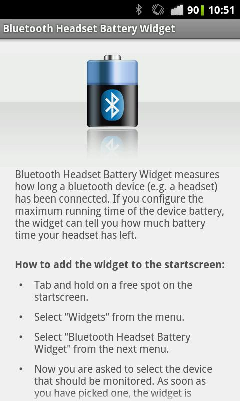 Bluetooth Headset Battery - screenshot
