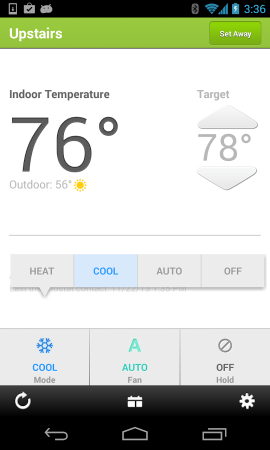 EnergyHub Thermostat - screenshot