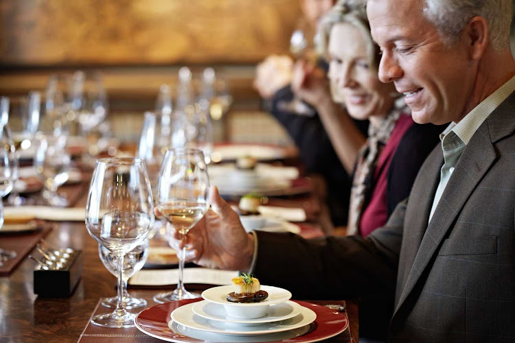 Your meal at La Reserve restaurant aboard Oceania Riviera will pair classic French cuisine with carefully selected premium wines.