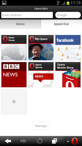 opera mini apk speed dial