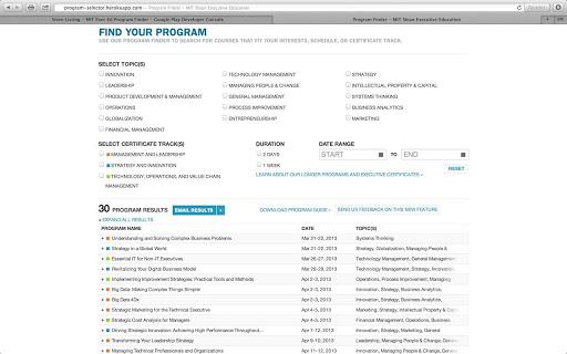 MIT Exec Ed Program Finder