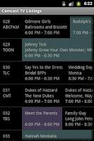 Screenshot of TV Listings on Comcast