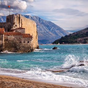 Budva-4 by Maxim Malevich - Landscapes Waterscapes ( montenegro, old, rock, cityscape, travel, architecture, beach, landscape, city, blu, mountains, ancient, sky, gulf, surf, water, sea, tourism, adriatics, dark ages, tower, crna gora, bay, citadel, budva, town, historical, stones, medieval, balkans )